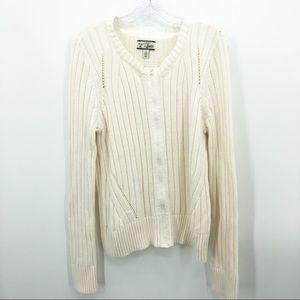 G.H. Bass & Co | Cream Zip Up Crewneck Sweater